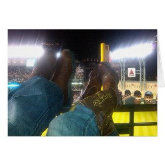 Cowboy Boots Over Baseball Stadium Greeting Card
