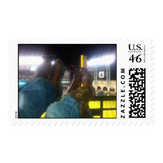 Cowboy Boots Over Baseball Stadium Postage Stamp
