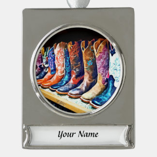Cowboy Boots Silver Plated Banner Ornament