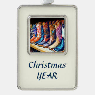 Cowboy Boots Silver Plated Framed Ornament