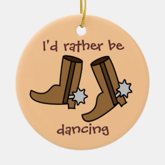 Cowboy Boots Rather be Dancing Country Western Double-Sided Ceramic Round Christmas Ornament