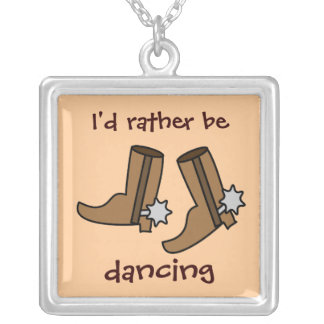 Cowboy Boots Rather be Dancing Country Western Custom Necklace