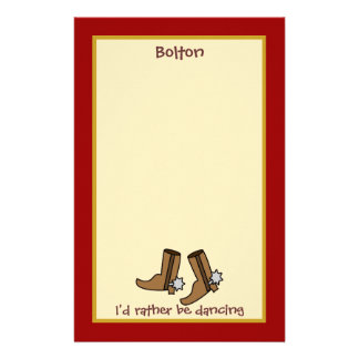 Cowboy Boots Rather be Dancing Country Western Stationery