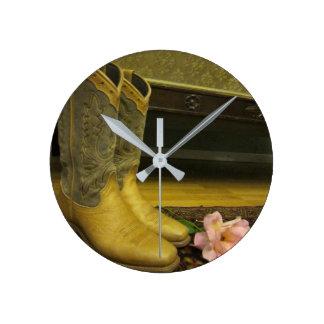 Cowboy Boots Round Clock