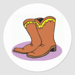 Cowboy Boots Round Sticker