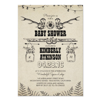 Cowboy Boots Rustic Country Baby Shower Card