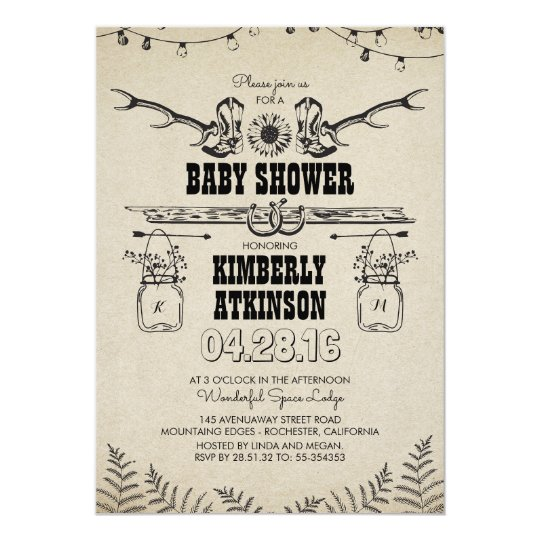 Cowboy Boots Rustic Country Baby Shower Invitation
