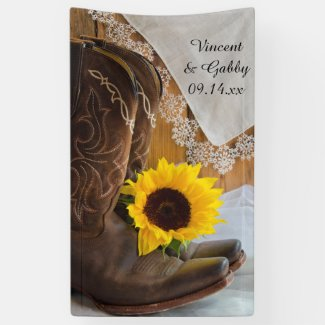Cowboy Boots, Sunflower and Lace Western Wedding Banner