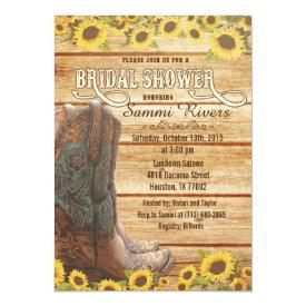 Cowboy Boots Sunflower Bridal Shower Invitation