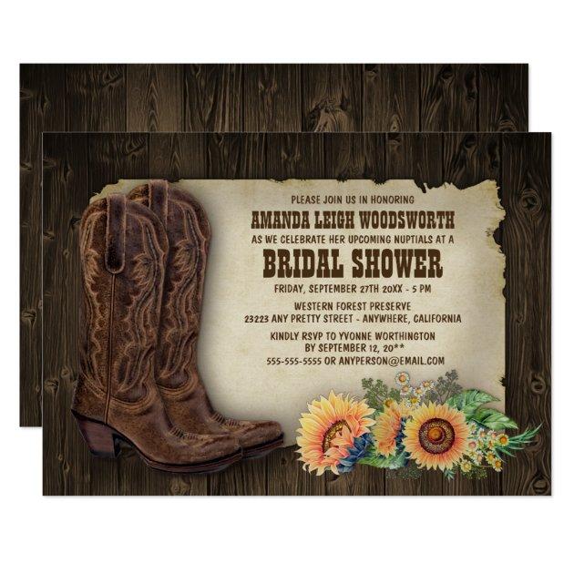 Cowboy Boots Sunflower Bridal Shower Invitations Zazzle Com