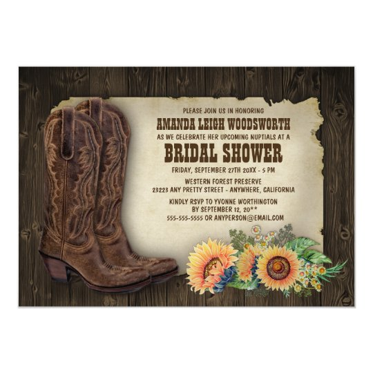 Cowboy boots sunflower bridal shower invitations zazzle cowboy boots sunflower bridal shower invitations filmwisefo Images