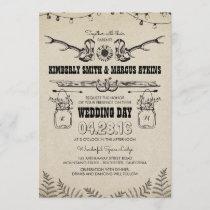 Cowboy Boots Sunflower Country Rustic Barn Wedding Invitation
