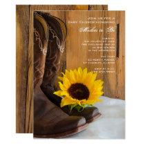 Cowboy Boots Sunflower Western Baby Shower Invite