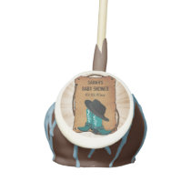 cowboy boots western Baby Shower Blue cake pops