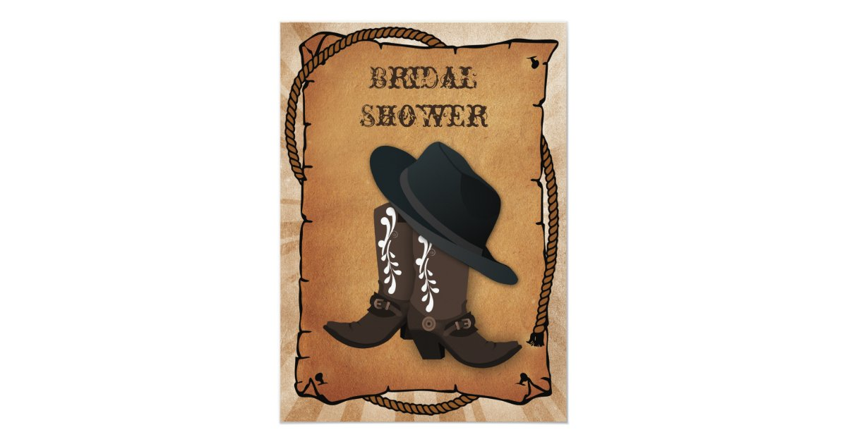 cowboy boots western bridal shower invitation zazzlecom
