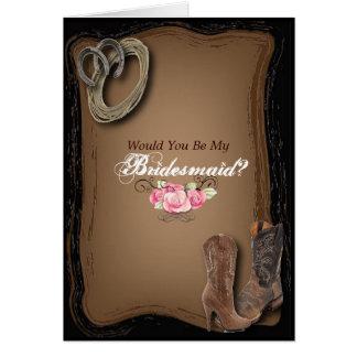 Cowboy Boots Western Country bridesmaid Greeting Card