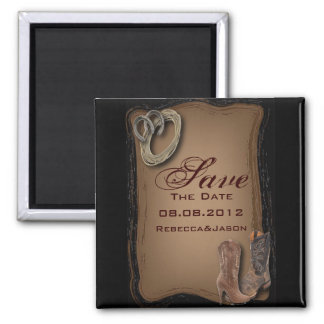 Cowboy Boots Western Country SaveTheDate Refrigerator Magnets