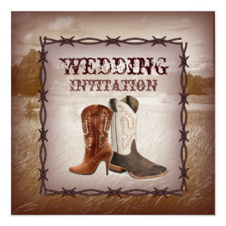 Cowboy Boots Western Country  Wedding Invitation