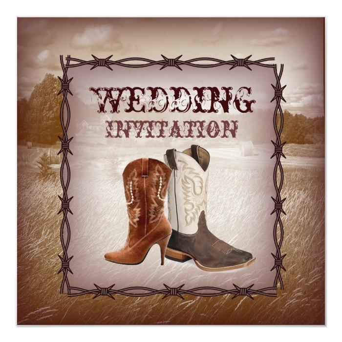 Cowboy Boots Western Country Wedding Invitation
