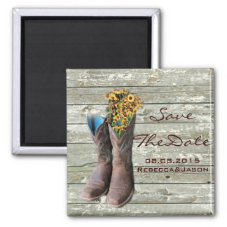 cowboy boots western country wedding save the date 2 inch square magnet