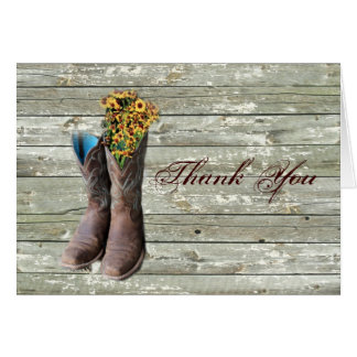 cowboy boots western country wedding thank you card