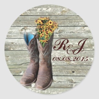 cowboy boots western country wedding thank you classic round sticker