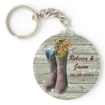 cowboy boots western country wedding thank you keychain