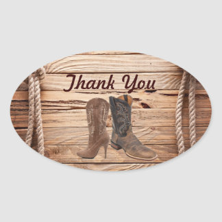 Cowboy Boots Western country Wedding thank you Oval Sticker