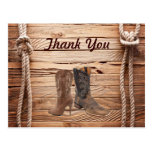Cowboy Boots Western country Wedding thank you Post Card