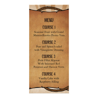 cowboy boots western Personalized Menu cards