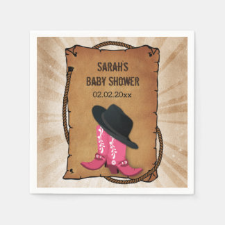 cowboy boots western personalized party napkins