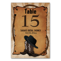 cowboy boots western Personalized table numbers Card