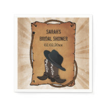 cowboy boots western personalized wedding napkins
