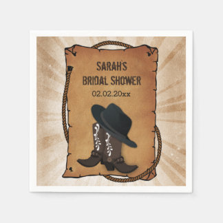 cowboy boots western personalized wedding napkins