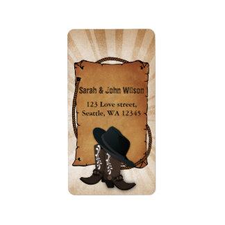 cowboy boots western theme address label