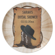 cowboy boots western theme Personalized Plate