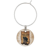 cowboy boots western theme Personalized wine charm