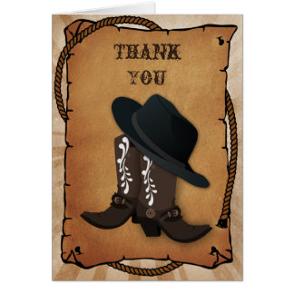 cowboy boots western Theme Thank you Card