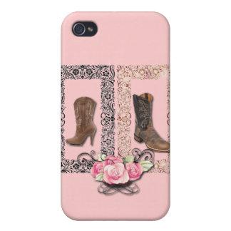 Cowboy Boots Western Wedding SaveTheDate iPhone 4 Case