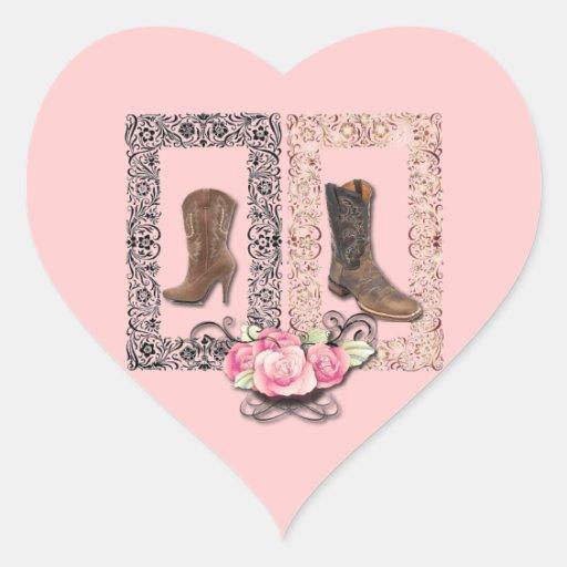 Cowboy Boots Western Wedding SaveTheDate Heart Sticker