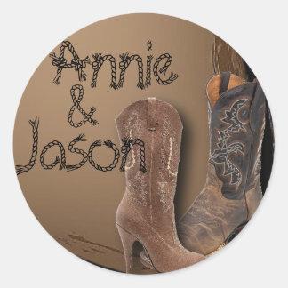 Cowboy Boots Western Wedding Sticker