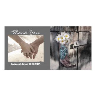 cowboy boots white daisy barn wedding thank you photo cards
