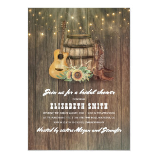 Cowboy Boots Wine Barrel Country Bridal Shower Card
