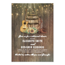 Cowboy Boots Wine Barrel Country Rehearsal Dinner Invitation