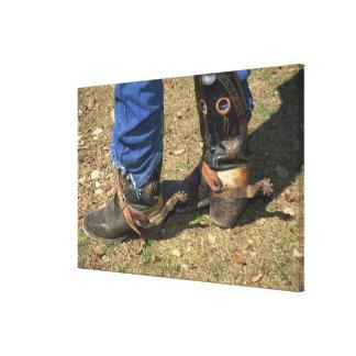 Cowboy boots with spurs canvas print