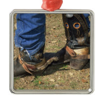 Cowboy boots with spurs metal ornament