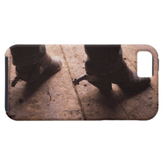 Cowboy boots with spurs on boardwalk at iPhone SE/5/5s case