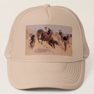 Cowboy Breaking Horse Remington 1893 Hat