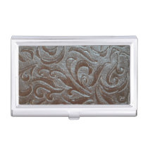 Cowboy brown  western country leather pattern business card holder