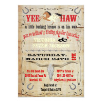 Cowboy Bucking Bronco Couples Baby Shower Invitation